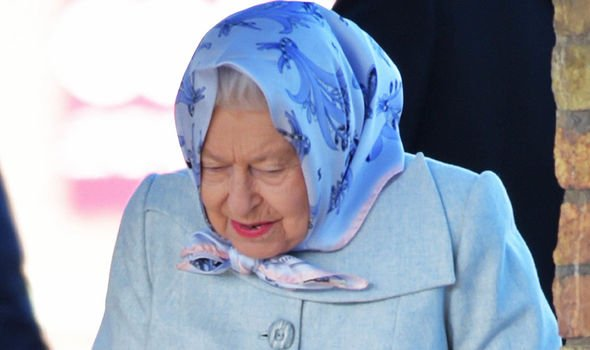 The Queen matched her coat with her signature style of headscarf