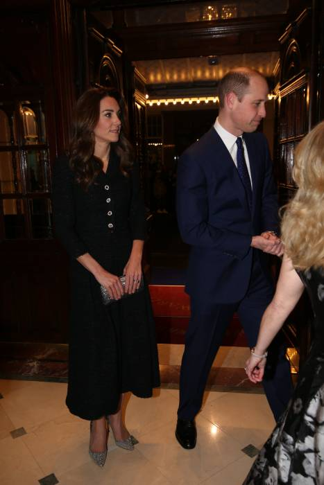 kate middleton and prince william inside the theatre foyer