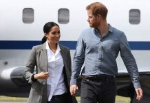 Meghan Markle and Prince Harry leaving an aircraft