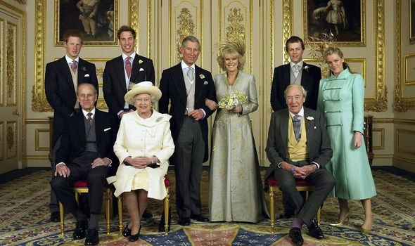 Charles and Camilla pictured with their families on their big day