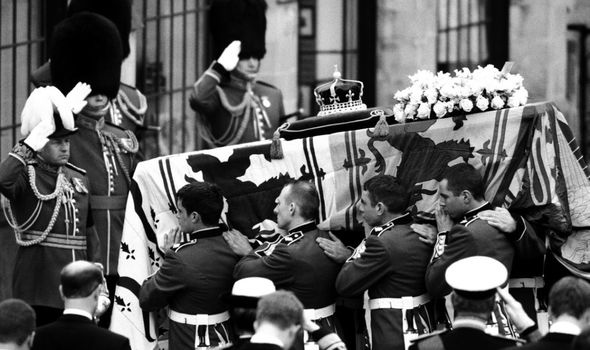 The state funeral for the Queen Mother in 2002