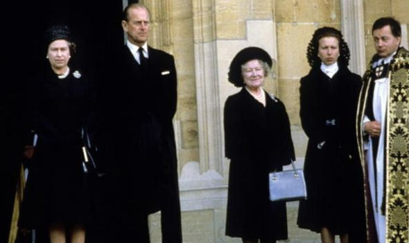 The Queen, Prince Philip, the Queen Mother and Princess Anne at the funeral for Wallis Simpson in 1986