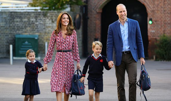 George pictured attending school with his sister Princess Charlotte and his parents Kate Middleton and Prince William