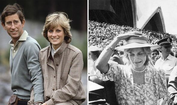 Prince Charles and Princess Diana on their honeymoon (L) and in Australia in 1983 (R)