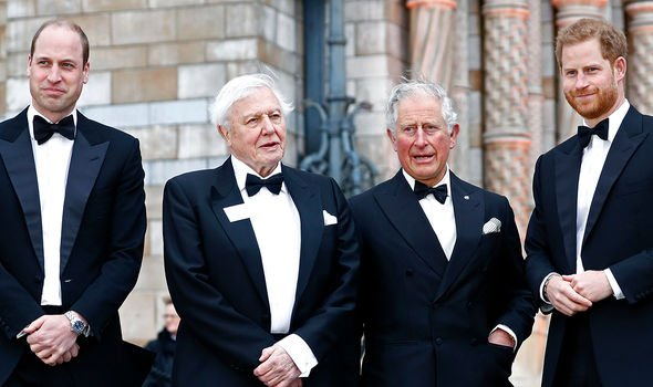 Charles pictured with Harry, William and Sir David Attenborough