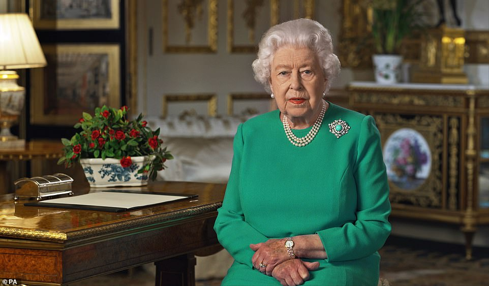 Queen Elizabeth II at Windsor Castle during her address to the nation and the Commonwealth amid the coronavirus outbreak