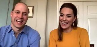 William, 37, and Kate, 38, were seen giggling as the pupilspresented them with a 'virtual' bouquet of paper flowers