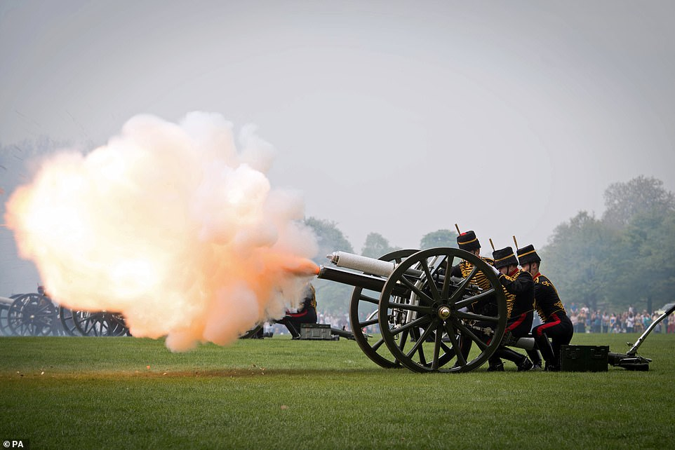 The King's Troop Royal Horse Artillery firing a 41 Gun Royal Salute to mark Queen Elizabeth II's 93rd birthday in Hyde Park, London last year. There will be no gun salutes this year