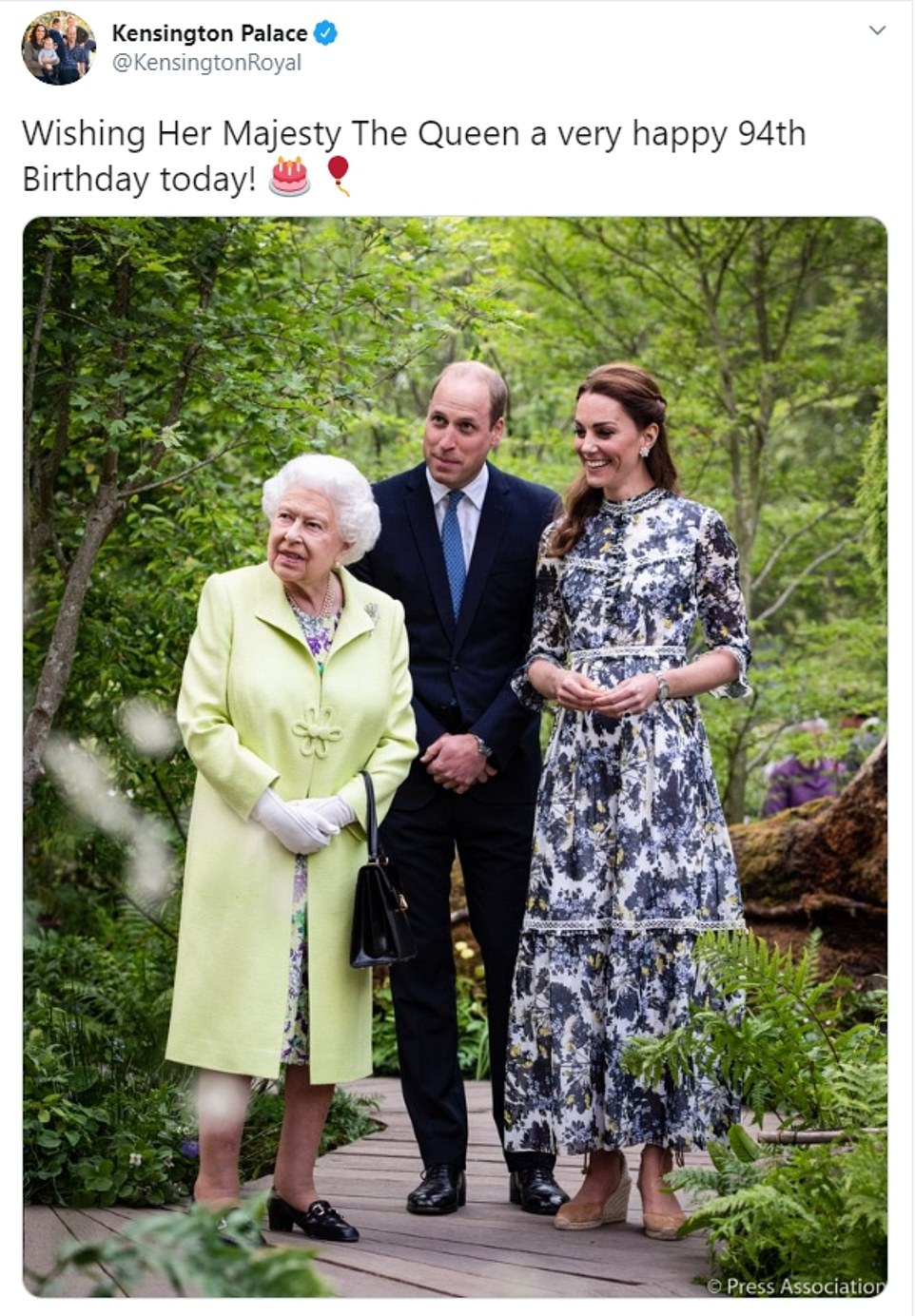Kensington Palace wished the Queen a 'very happy 94th Birthday', and shared a picture of Prince William and Kate Middleton with the monarch at the Chelsea Flower Show
