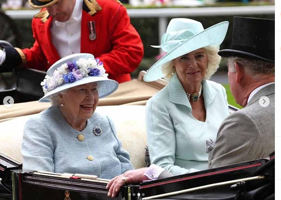 Clarence House shared a selection of images from across the monarch's reign. Included among them was this image of Her Majesty and the Duchess of Cornwall at Royal Ascot last year