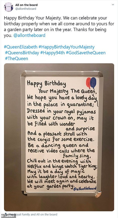 The All on the board Twitter account shared a message to The Queen