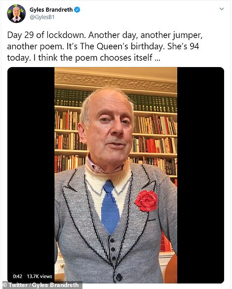 Writer and broadcaster Gyles Brandreth put on a special jumper to with the Queen a Happy Birthday today. He also read out a poem in a video on his Twitter account