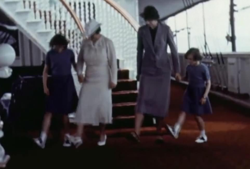 The footage released by the Royal Family today shows a young Princess Elizabeth and her sister Margaret dancing on a yacht