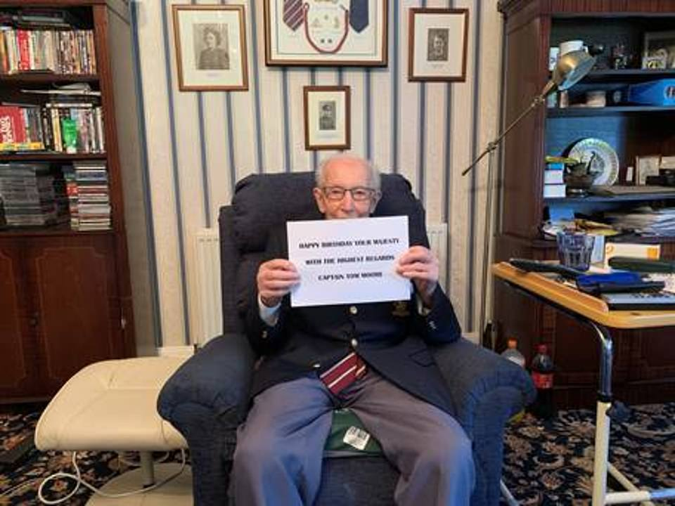 Captain Tom Moore wished the Queen a happy birthday from his Bedfordshire home as he was flooded with cards ahead of his centenary - and his daughter said her heart is 'bursting' over the £27million he has raised for the NHS. His message said: 'Happy Birthday your majesty. With the highest regards, Captain Tom Moore'