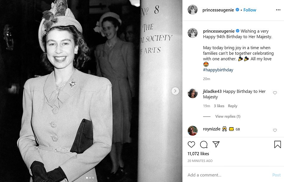 Princess Eugenie also wished the Queen (pictured at The Royal Society of Arts in her youth) best wishes on her birthday. She said: 'May today bring joy in a time when families can't be together celebrating with one another'
