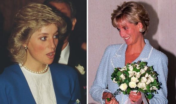 Princess Diana with flowers named after her which were to go on sale at Chelsea Fashion Show (1997, left)