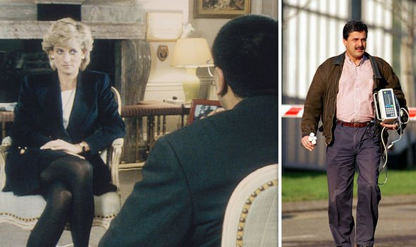 Diana  during her 1995 Panorama interview (L) and Hasnat Khan (R)