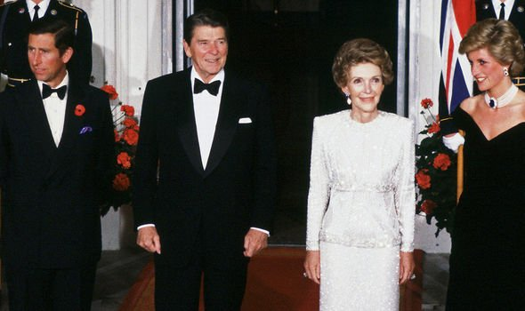 Charles, Ronald Reagan, Nancy Reagan and Diana in 1985, at the White House