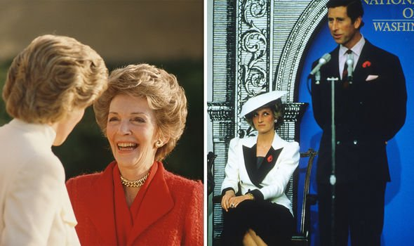 Diana with the First Lady (L), Diana's dancing may have frustrated Charles, at the press conference the next day (R)