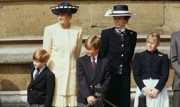 Princess Diana with Princes William and Harry