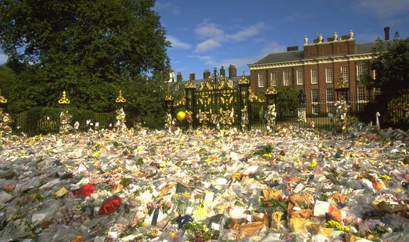Flowers laid by mourning members of the public following Diana's sudden death in 1997