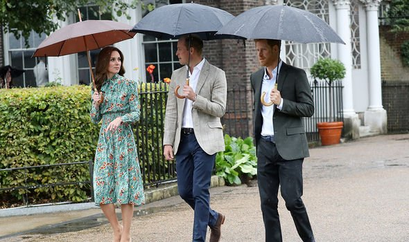 Kate, William and Harry attend the Memorial Garden to commemorate 20 years since Diana's death in 2017