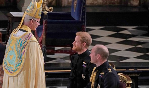 The Archbishop of Canterbury with Prince Harry and Prince William