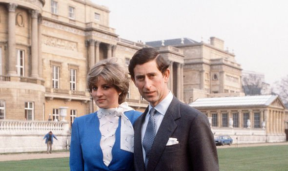 Diana and Charles outside Buckingham Palace for their engagement announcements