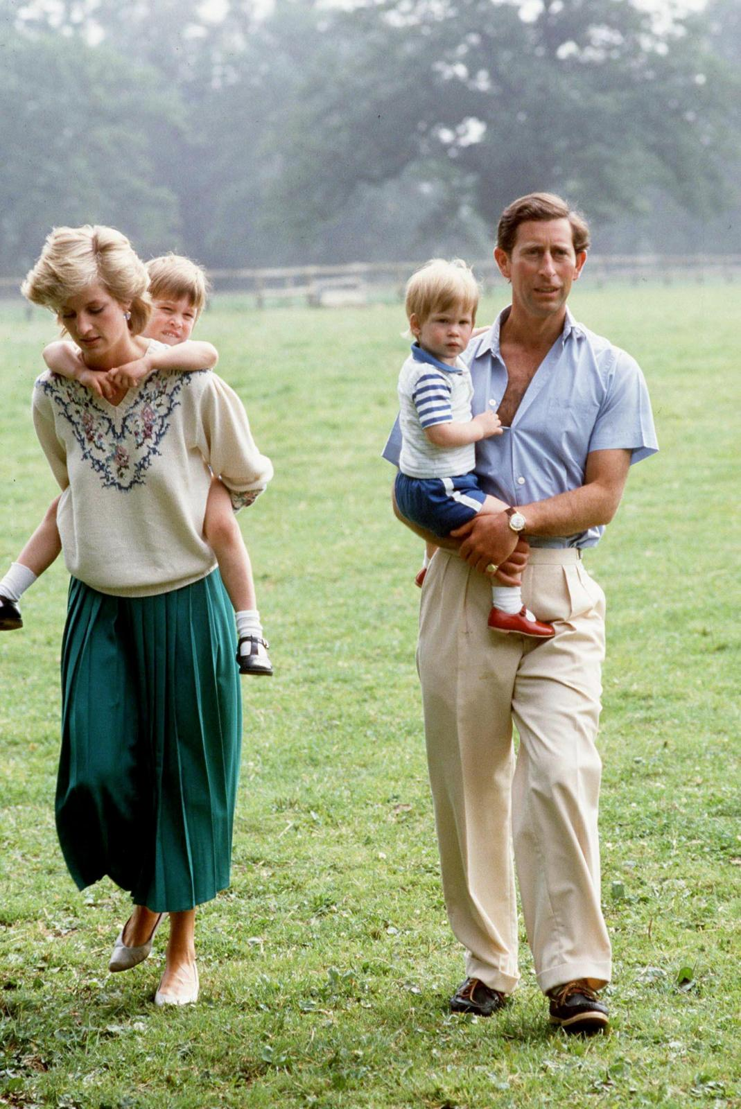 The couple with Prince William and Prince Harry at their home Highgrove House in Tetbury when they were still trying to make their marriage work