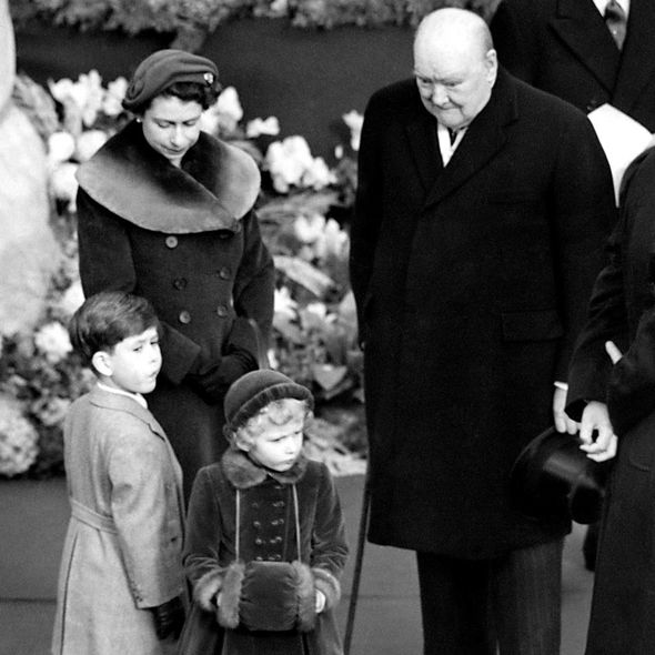 Queen, Charles, Anne and Winston Churchill