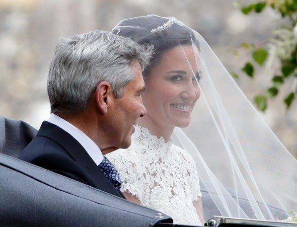 St Mark's Church: Pippa pictured with her dad before entering the church