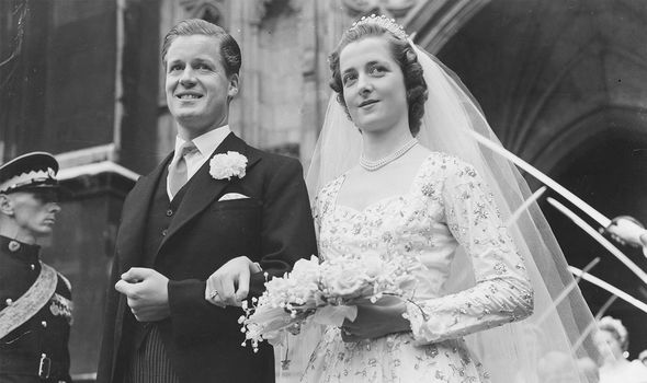 Earl Spencer and Diana's mother Frances at their wedding - they divorced in 1969 when Diana was 7-years-old