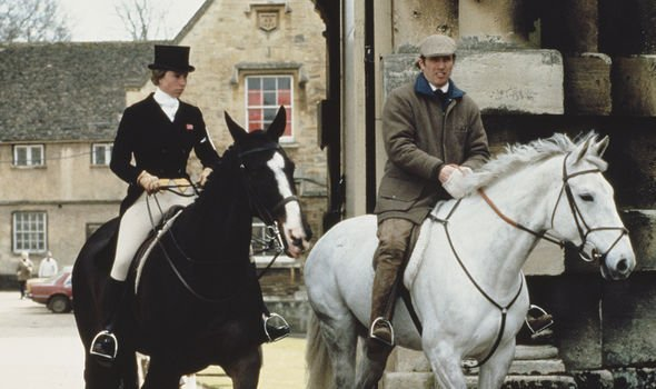 Princess Anne and Mark on their horses during their marriage