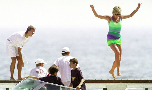 Diana on holiday in the summer of 1997 with the Al Fayeds