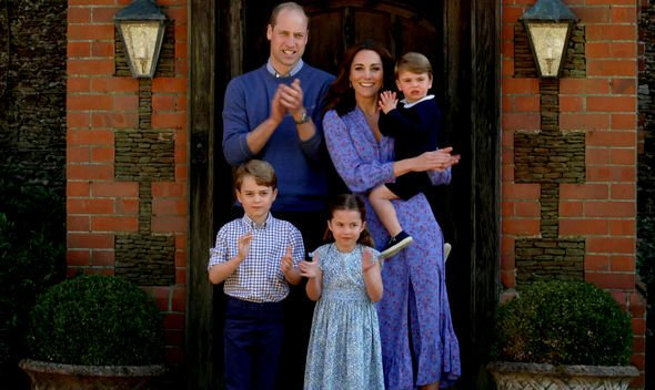 George, Charlotte and Louis join their parents in Clap for Carers
