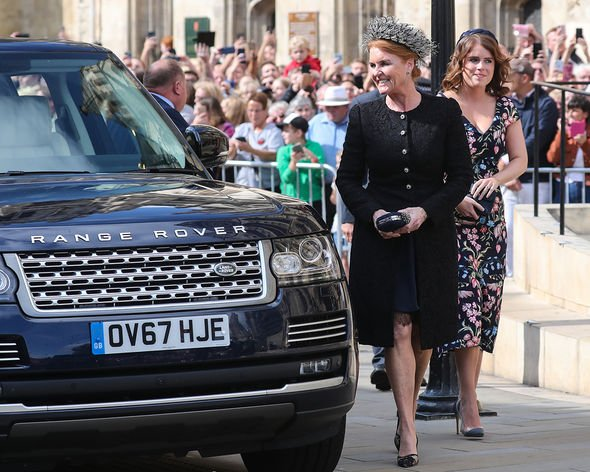 Sarah, Duchess of York and Princess Eugenie of York seen at the wedding of Ellie Goulding and Caspar Jopling at York Minster Cathedral