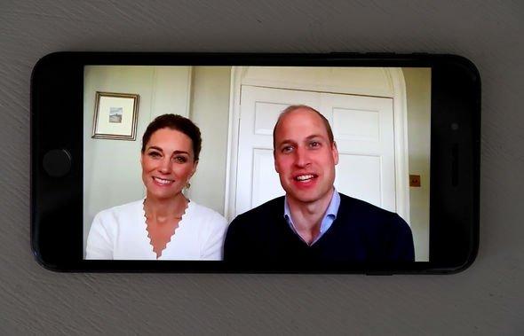 Prince William, Duke of Cambridge and Catherine, Duchess of Cambridge speak to crisis volunteers on a video-call