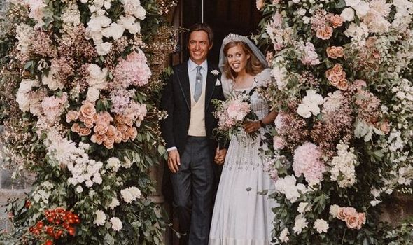 Princess Beatrice and Mr Mozzi walk out of wedding