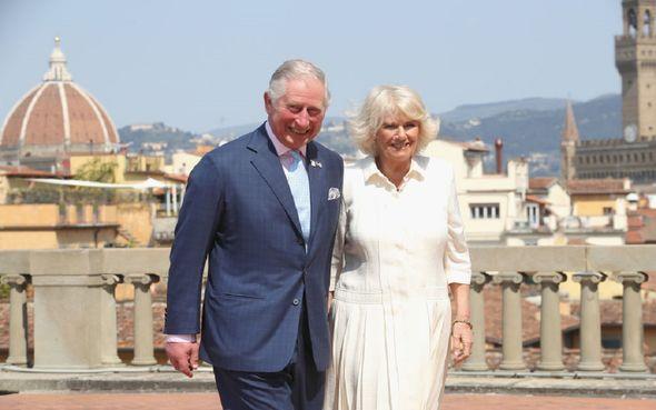Charles and Camilla walking