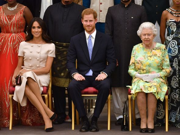 The Queen, Prince Harry and Meghan