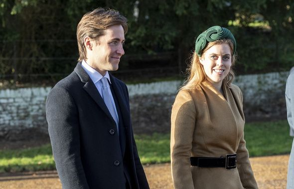 Princess Beatrice and Mr Mozzi standing