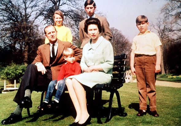 Queen Elizabeth II and Prince Philip with Princess Anne, Prince Charles, Prince Andrew and Prince Edward
