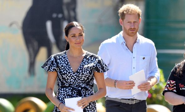 Prince Harry and Meghan Markle prepare to give a speech