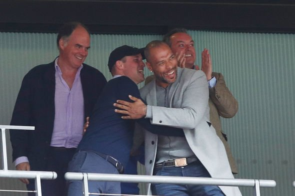 Championship: William with former Villa player John Carew during Villa's championship playoffs
