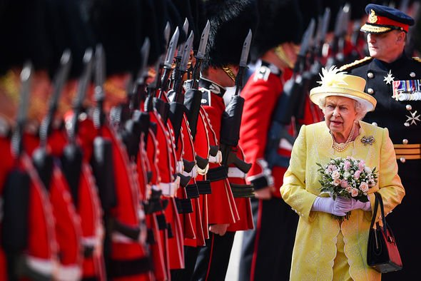 The Queen inspecting guards