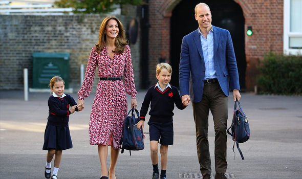 William and Kate taking George and Charlotte to school
