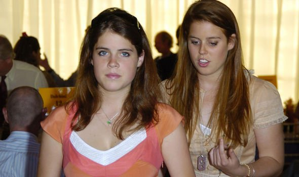 Beatrice and Eugenie pictured in 2005, the year she started dating Mr Liuzzo