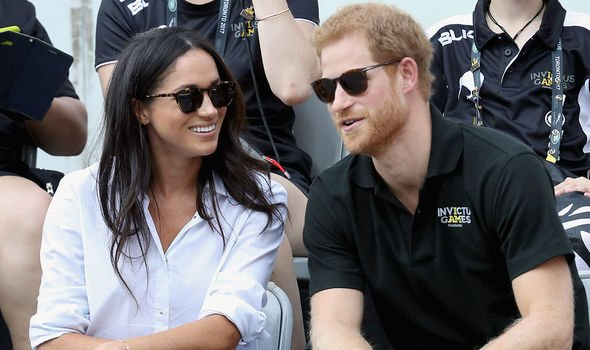 Meghan and Harry during their first public outing as a couple in 2017