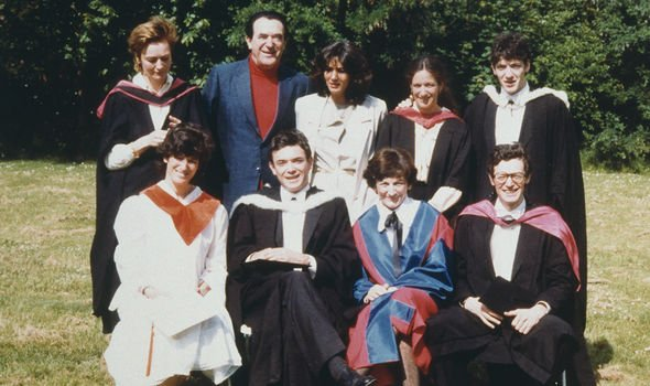 Maxwell and her family in 1990, a year before her father died