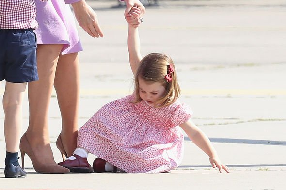 Royal rebel: Charlotte has a tantrum on the Tarmac at a German airport in 2017